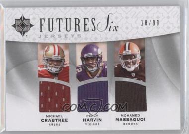 2009 Upper Deck Ultimate Collection Futures Six Jerseys #F6J-4 - Michael Crabtree, Percy Harvin, Mohamed Massaquoi, Juaquin Iglesias, Jeremy Maclin, Darrius Heyward-Bey /99