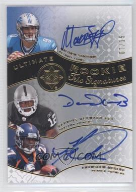 2009 Upper Deck Ultimate Collection Ultimate Rookie Trio Signatures [Autographed] #TR-SMH - Knowshon Moreno, Matthew Stafford, Darrius Heyward-Bey /15