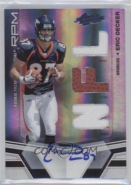 2010 Panini Absolute Memorabilia Rookie Premiere Materials Spectrum Die-Cut NFL Prime Signatures [Memorabilia] #221 - Eric Decker /10