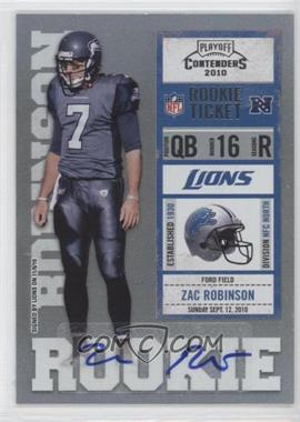 2010 Playoff Contenders - [Base] #200 - Zac Robinson /340