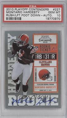 2010 Playoff Contenders - [Base] #227.2 - Montario Hardesty (Ball Covers Numbers) [PSA 10]