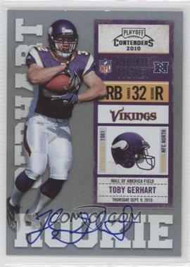 2010 Playoff Contenders #235.1 - Toby Gerhart (Ball Covers Tops of Numbers)