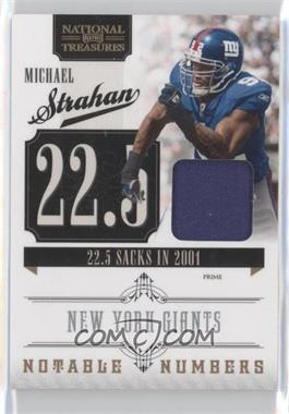 2010 Playoff National Treasures Notable Numbers Materials Prime [Memorabilia] #18 - Michael Strahan /50
