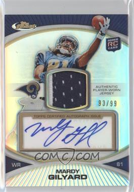 2010 Topps Finest Rookie Patch Autographs Refractor #32 - Mardy Gilyard /99