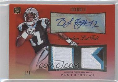 2010 Topps Tribute - Autographed Dual Relics - Red Rainbow Patch #ADR-BL - Brandon LaFell /1