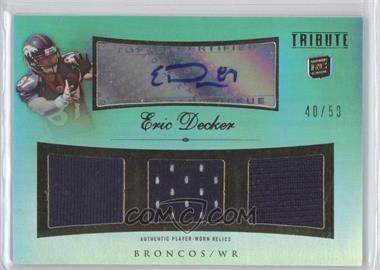 2010 Topps Tribute Autographed Triple Relics Blue Rainbow #ATR-ED - Eric Decker /50
