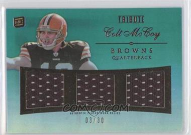 2010 Topps Tribute Triple Relics Blue Rainbow #TR-CM - Colt McCoy /30