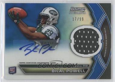 2011 Bowman Sterling Autograph Relics Blue Refractors #BSAR-BP - Bilal Powell /99