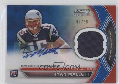 2011 Bowman Sterling Autograph Relics Blue Refractors #BSAR-RM - Ryan Mallett /99
