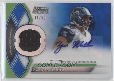 2011 Bowman Sterling Autograph Relics Blue Refractors #BSAR-ZM - Zach Miller /50