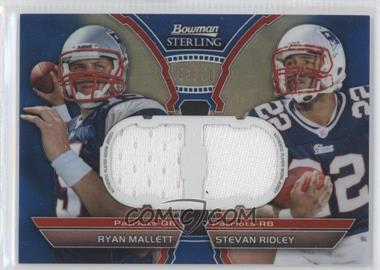 2011 Bowman Sterling Box Topper Dual Relic Blue Refractors #BSDR-MR - Ryan Mallett, Stevan Ridley /50