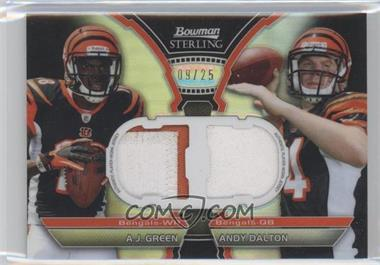 2011 Bowman Sterling Dual Box Topper Relics Black Refractors #BSDR-GD - A.J. Green, Andy Dalton /25