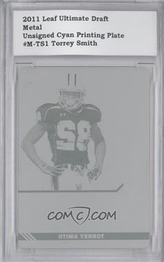 2011 Leaf Ultimate Draft Metal Printing Plate Cyan #M-1 - Torrey Smith /1 [ENCASED]