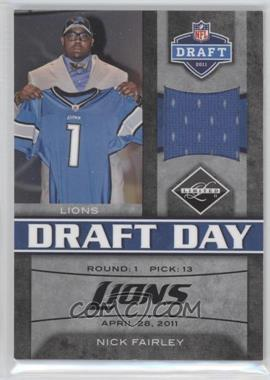 2011 Panini Limited - Draft Day Materials - Limited Jerseys #9 - Nick Fairley /100