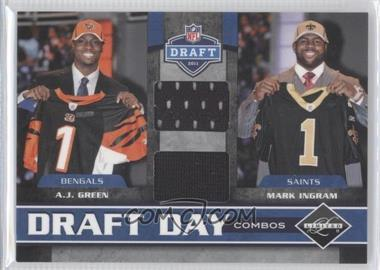 2011 Panini Limited - Draft Day Player Combos Materials #4 - A.J. Green, Mark Ingram /100