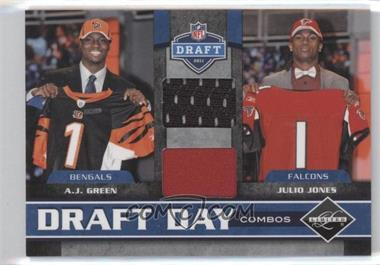 2011 Panini Limited Draft Day Player Combos Materials #2 - A.J. Green, Julio Jones /100