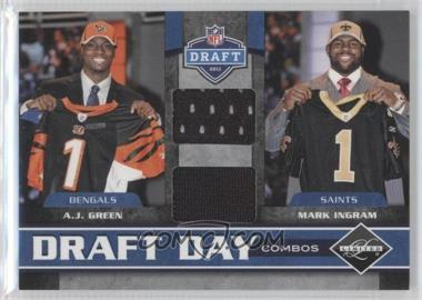 2011 Panini Limited Draft Day Player Combos Materials #4 - A.J. Green, Mark Ingram /100