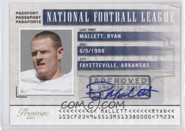 2011 Panini Prestige NFL Passport Signatures [Autographed] #36 - Ryan Mallett /25