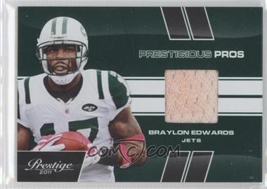 2011 Panini Prestige Prestigious Pros Green Materials [Memorabilia] #6 - Braylon Edwards /100