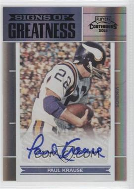 2011 Playoff Contenders - Signs of Greatness #44 - Paul Krause