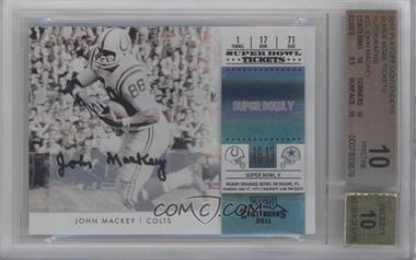 2011 Playoff Contenders - Super Bowl Tickets - Autographs [Autographed] #25 - John Mackey /10 [BGS 10]