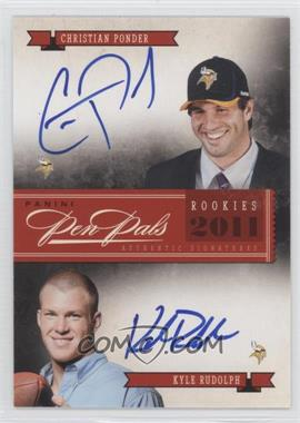 2011 Playoff National Treasures Pen Pals #7 - Christian Ponder, Kyle Rudolph /25