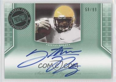 2011 Press Pass Legends Saturday Signatures Emerald #SS-SR - Stevan Ridley /99