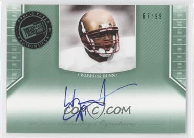 2011 Press Pass Legends Saturday Signatures Emerald #SS-WD - Warrick Dunn /99