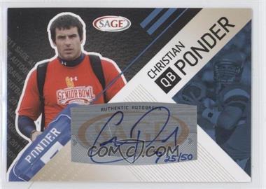 2011 SAGE Autographed - [Base] - Platinum Autographs [Autographed] #A-39 - Christian Ponder /50