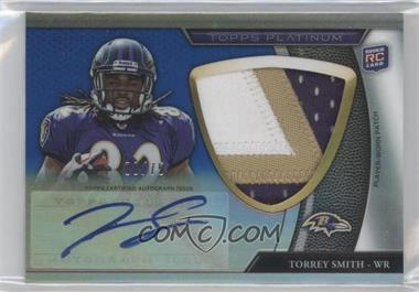 2011 Topps Platinum Autographed Refractor Jumbo Rookie Patch Blue #86 - Torrey Smith /75