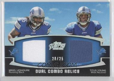2011 Topps Prime Dual Combo Relics Silver Rainbow #DCR-LY - Mikel Leshoure, Titus Young /25