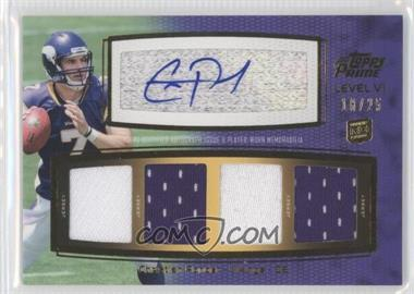 2011 Topps Prime Level VI Autographed Relic Gold #PVI-CP - Christian Ponder /25