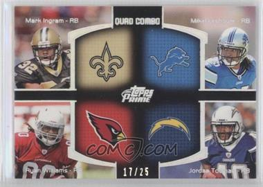 2011 Topps Prime Quad Combo Relics Silver Rainbow #QCR-N/A - Mark Ingram, Mike Leach, Ryan Williams, Jordan Todman /25