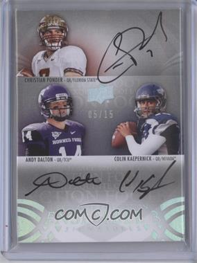 2011 Upper Deck Exquisite Collection - Ensemble Signatures 3 #E3-PDK - Christian Ponder, Colin Kaepernick, Andy Dalton /15