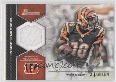 2012 Bowman - Inside the Numbers Relics #ITNR-AG - A.J. Green