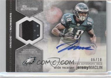2012 Bowman Inside the Numbers Relics Autograph Patch [Autographed] #ITNAR-JM - Jeremy Maclin /10