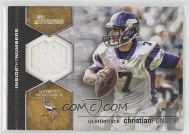 2012 Bowman Inside the Numbers Relics #ITNR-CP - Christian Ponder