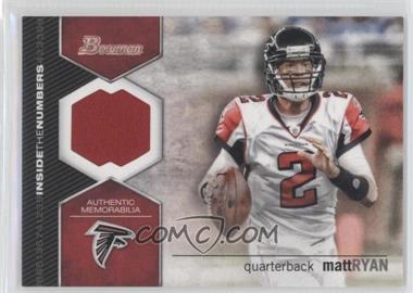 2012 Bowman Inside the Numbers Relics #ITNR-MR - Matt Ryan