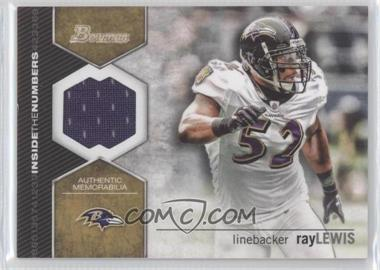 2012 Bowman Inside the Numbers Relics #ITNR-RL - Ray Lewis