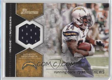 2012 Bowman Inside the Numbers Relics #ITNR-RMA - Ryan Mathews