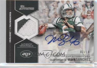 2012 Bowman Signatures Inside the Numbers Relics Autograph Patch [Autographed] #ITNAR-MS - Mark Sanchez /10