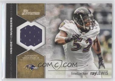 2012 Bowman Signatures Inside the Numbers Relics #ITNR-RL - Ray Lewis