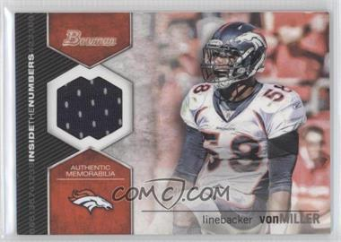 2012 Bowman Signatures Inside the Numbers Relics #ITNR-VM - Von Miller