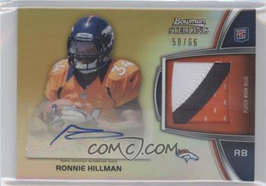2012 Bowman Sterling Autographed Rookie Relic Gold Refractor #BSAR-RH - Ronnie Hillman /66