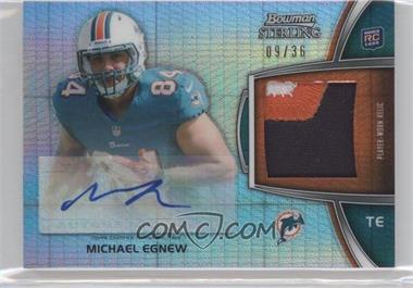 2012 Bowman Sterling Autographed Rookie Relic Prism Refractor #BSAR-ME - Michael Egnew /36