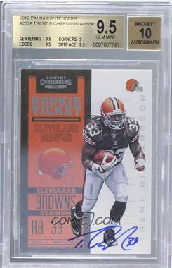 2012 Panini Contenders - [Base] #203 - Rookie Ticket RPS - Trent Richardson /550 [BGS9.5]