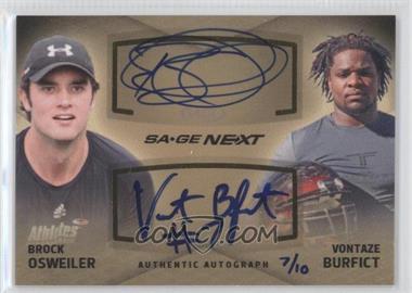 2012 SAGE Next Dual Autographs #DA-21 - Brock Osweiler, Vontaze Burfict /10