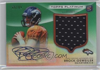 2012 Topps Platinum Autographed Rookie Refractor Patch Green #101 - Brock Osweiler /99