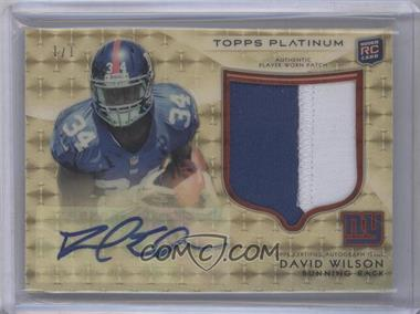 2012 Topps Platinum Autographed Rookie Refractor Patch Superfractor #106 - David Wilson /1