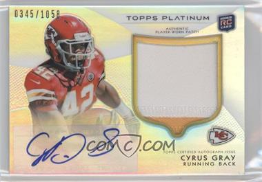 2012 Topps Platinum Autographed Rookie Refractor Patch #116 - Cyrus Gray /1058